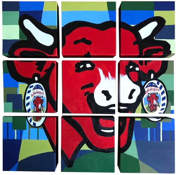 Heureuse comme la Vache qui rit, 9 Toiles modulables en bois et peinture acrylique