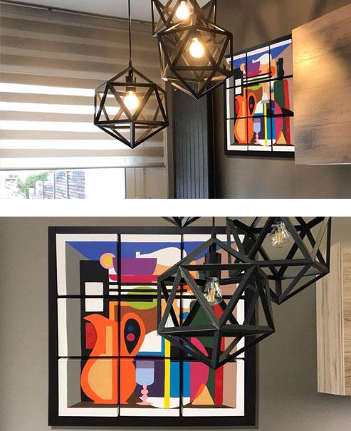 Création modulable Kitchen colour's, 9 carrés modulables 20x20, Toiles de coton et Peinture acrylique et résine