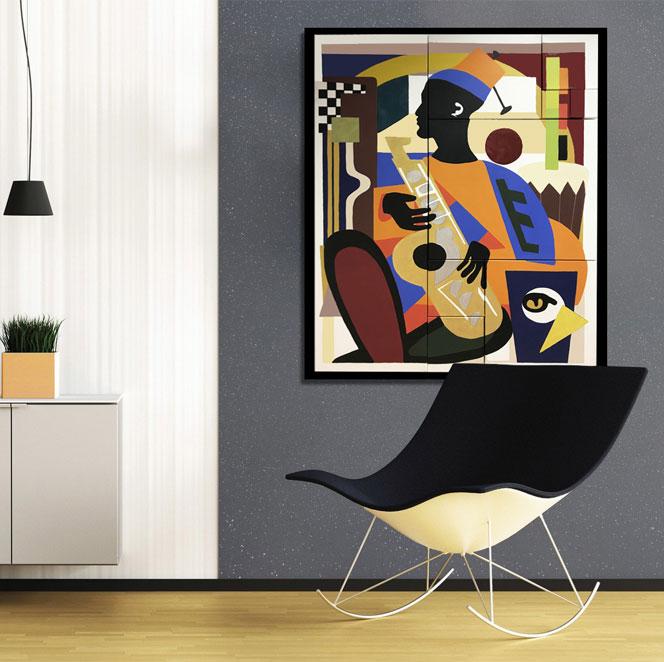 Mr Mangbetou, 9 toiles de coton modulables, peinture acrylique, Alcantara et résine