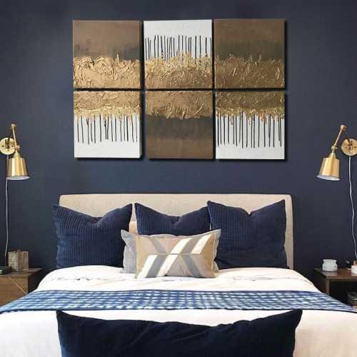 Réalisation client : Décoration Murale chambre à coucher à la feuilles d'or
