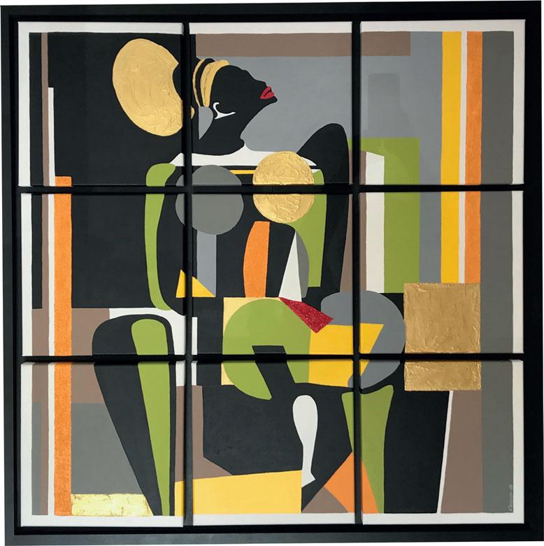 Création carrés modulable La femme Mangbetou - Peinture acrilyque sur 9 carrés toiles en lin