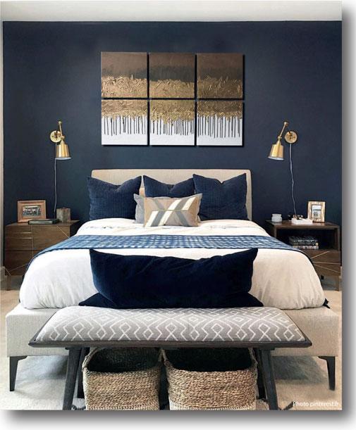 Décoration Murale chambre à coucher à la feuilles d\'or - Carrés sur ...