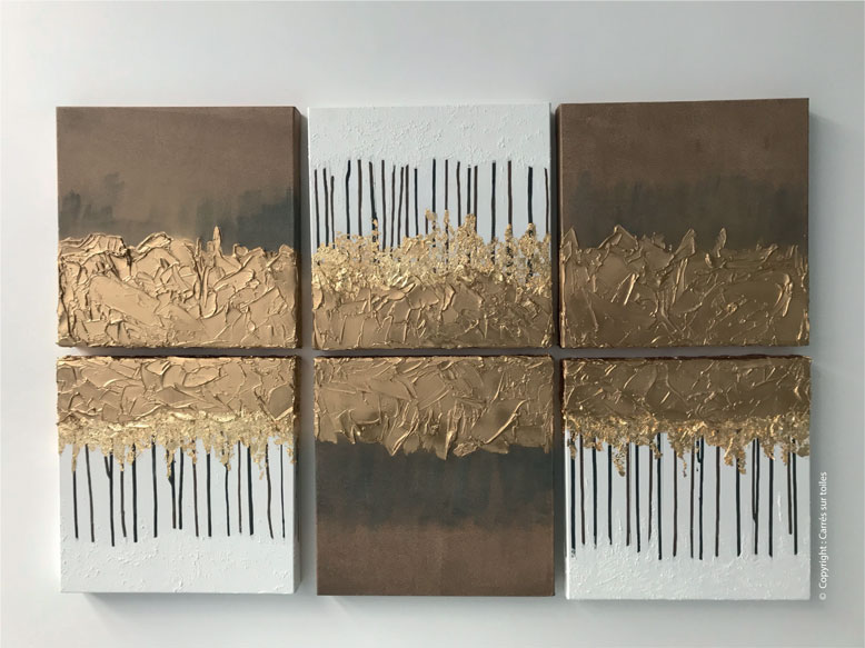 Création modulable La peinture ça dégouline - Peinture acrilyque sur 6 carrés toiles en lin