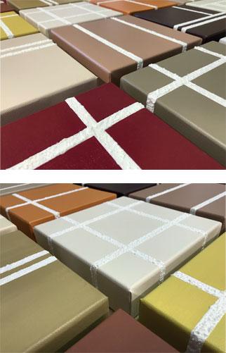 Création 6 carrés modulable modèle Havana - Peinture acrilyque et sable sur toiles en lin