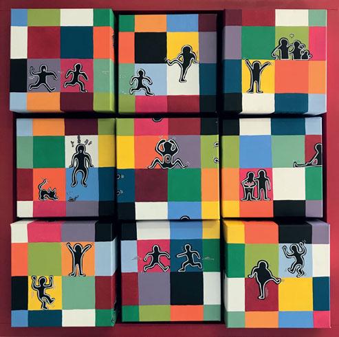 Invasion d'Elmer, création modulable modèle de 9 carrés - Peinture acrylique sur toiles de Coton