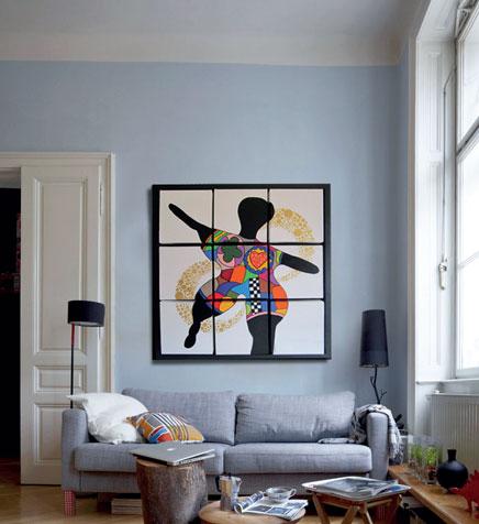 Création 9 carrés modulable modèle La fille de Niki - Peinture acrilyque et feuille d'or sur toiles en lin