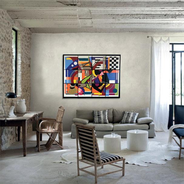 Musique chez les Mangbetu, création modulable modèle de 12 carrés - Peinture acrylique, sable, modeling passe et papier de soie sur toiles en lin