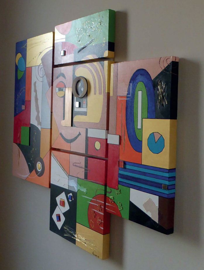 Un oeil sur toi, création modulable modèle de 5 carrés - Technique mixte, acrylique, verre, collage papier sur toile de coton
