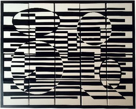 Création 20 carrés modulable modèle Vasarely - Peinture acrilyque sur toiles en lin