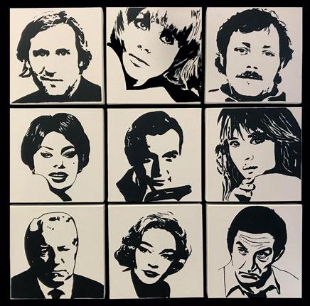 Au cœur du cinéma, création modulable modèle de 9 carrés - Peinture acrylique sur toile coton
