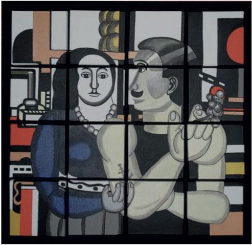 La femme du mécanicien, création modulable modèle de 16 carrés - Peinture acrylique sur toiles en coton